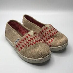 Like New Toms Little Girl Hemp Heart Slip Ons